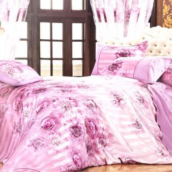 奢华典雅柔丝缎条整体家居10件套 紫色