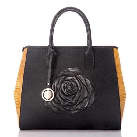 AlexDoriani国色牡丹雕花女士皮包组 黑色